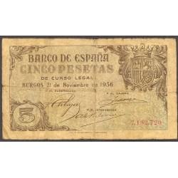 España Serie. 1936. RC-/RC. (2 Valores:5 y 10 Ptas.). MUY RARO/A. EDF. D18 y 19 - PIK. 97a y 98a. (Muy usados-El 10 Pts.con un p
