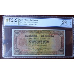 España 50 Ptas. 1938. PCGS-58. (OPQ-Nuevos de paquete con levisima ondulacion). (PAREJA Correlativa-Serie C-(Olite). (Numeraci
