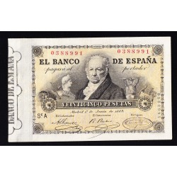 España 25 Ptas. 1889. 1º de Junio. MBC+/EBC-. (Goya). EDF. B84 - PIK. 34. (Planchado y algo aprestado.Precioso)