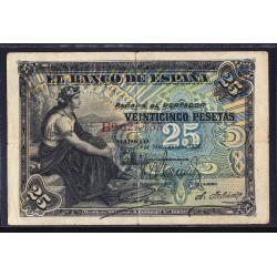 España 25 Ptas. 1906. 24 Sepbre. BC+. (Serie B). EDF. B98a - PIK. 58a. (Doblez.Suciedad de uso)