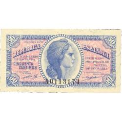 España 50 Cts. 1937. SC. (Serie A). PIK. 93 - EDF. C42. (Papel con leve tono)