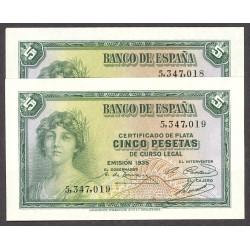 España 5 Ptas. 1935. SC. (Sin Serie-PAREJA correlativa). PIK. 85 - HG. 379