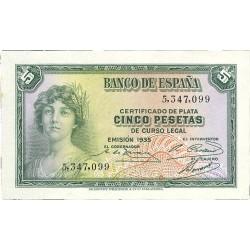 España 5 Ptas. 1935. SC. (Sin Serie). PIK. 85 - EDF. C14. (Nuevo con Insig.manchita del papel en margen izq.)