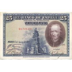 España 25 Ptas. 1928. EBC+. (Serie D-PAREJA Correlativa-(Calderon). EDF. C4 - PIK. 74b. (Nuevos con doblez)