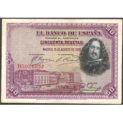 España 50 Ptas. 1928. MBC+/EBC-. (Serie B-PAREJA Correlativa)-(Velazquez). EDF. C5 - PIK. 75b. (Nuevos con ondulación margen.T