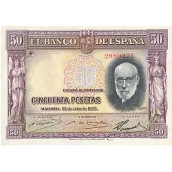España 50 Ptas. 1935. SC/UNC. (Cajal-Serie A-TRIO Correlativo). EDF. C17a - PIK. 88. (Su apresto)