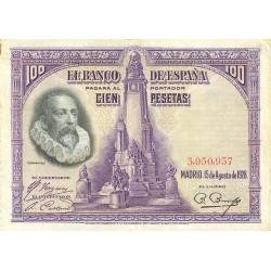 España 100 Ptas. 1928. MBC-. (Dobleces). (Sin Serie-Cervantes). EDF. C6 - PIK. 76a