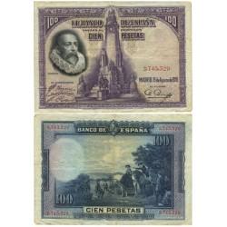 España 100 Ptas. 1928. MBC. (Sin Serie-Cervantes). EDF. C6 - PIK. 76a. (Doblez)