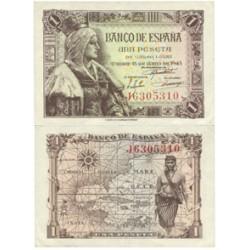 España 1 Ptas. 1945. SC/SC-. (Nuevo con doblez esquina). (Serie J-Isabel). EDF. D49 a - PIK. 128a