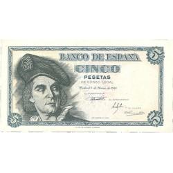 España 5 Ptas. 1948. SC/SC-. (Nuevo con insig.marquita). (Serie E-Elcano). EDF. D56 a - PIK. 136a