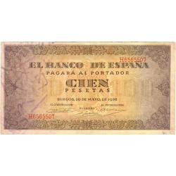España 100 Ptas. 1938. MBC. (Planchado.Entero). (Serie H-Casa del Cordon). EDF. D33 a - PIK. 113a
