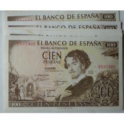 España 100 Ptas. 1965. MBC/MBC+. (Muy nuevos con doblez). (Sin Serie-Becquer). EDF. D73 - PIK. 150