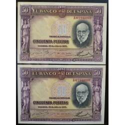 España 50 Ptas. 1935. SC/UNC. (Un billete con casi imperceptible manchita en margen superior. (Todo su apresto). (PAREJA Corre