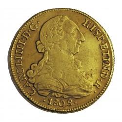 España 8 Escudos. 1808. Sº(Santiago de Chile). F.J. MBC-. (Pqñas.hojitas). AU. 27,067gr. CT. 149 - KM. 54. Ø37mm