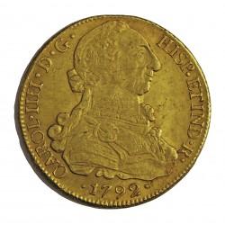 España 8 Escudos. 1792. Sº(Santiago de Chile). DA. MBC+. (Pqño.gpcto.cto.). AU. 27gr. CT. 129 - KM. 27. Ø36mm