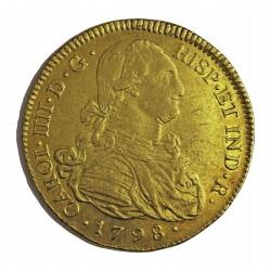 España 8 Escudos. 1798. P-(Popayan)-(Colombia). JF. MBC-/MBC. (Marquitas). AU. 27gr. CT. 69 - KM. 62.2. Ø37mm