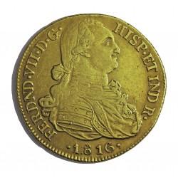 España 8 Escudos. 1816. NR-(N.Reino/Sta.Fe). J.F. MBC/MBC-. (Lev.falta de presión en rev.). AU. 27gr. CT. 83 - KM. 66.2. Ø36mm