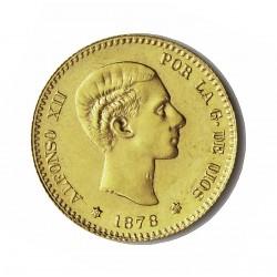 España 10 Ptas. 1878. *19*--). Madrid. DEM. SC/SC-. AU. 3,23gr. (Imagen tipo). CT. 13. Ø19,5mm