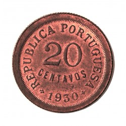 Cabo Verde 20 Ctvo. 1930. SC. (Tono original). CU. 5gr. Ø24mm. KM. 3