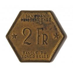 Congo Belga-(1909/1960) 2 Francos. 1943. MBC+. (Pqña-zona con puntos de oxid.,propio de este tipo de moneda). BRASS. 5,9gr. KM.
