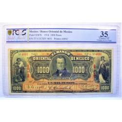Mejico 1000 Pesos. 1914. PUEBLA. PCGS-35. (MBC+/Doblez. Entero. Si roturas). (Bco.Oriental de Mejico). MUY RARO/A. PIK. S-387 b