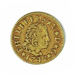 España ½ Escudos. 1742. S-(Sevilla). P.J. MBC+. AU. 1,69gr. Ø15mm. CT. 511 - KM. 361.2