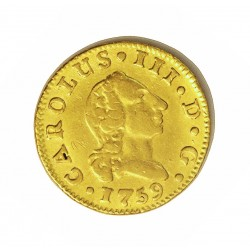 España ½ Escudos. 1759. M-(Madrid). J. MBC-. (Dos puntos, arreglados, de soldadura en rev.). RARO/A. AU. 1,69gr. Ø15mm. CT. 67