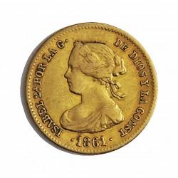 España 40 Reales. 1861. Madrid. MBC-/MBC. MUY ESCASO/A. AU. 3,335gr. Ø18mm. CT. 102