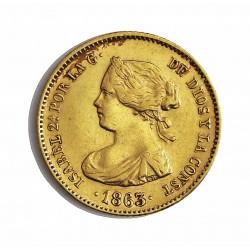 España 40 Reales. 1863. Barcelona. MBC+/EBC-. (Insig.gpcto.cto.). ESCASO/A. AU. 3,335gr. Ø18mm. CT. 100