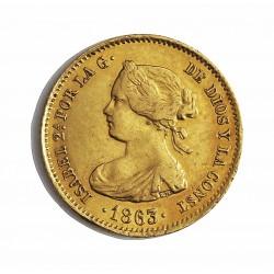 España 40 Reales. 1863. Madrid. MBC-/MBC. AU. 3,33gr. Ø18mm. CT. 104