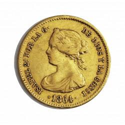 España 40 Reales. 1864. Madrid. MBC-/MBC. AU. 3,335gr. Ø18mm. CT. 105
