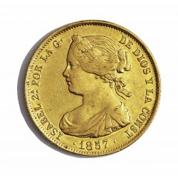 España 100 Reales. 1857. Madrid. MBC/MBC+. (Marquitas anv.). MUY ESCASO/A. AU. 8,337gr. Ø22mm. CT. 22