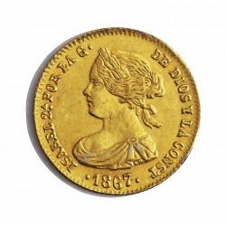 España 4 Escudos. 1867. Madrid. EBC/EBC+. (Marquita anv. y prueba metal en cto.). (Falsa de epoca en PLATINO). PLT. 3,3gr. Ø18m