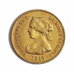 España 4 Escudos. 1868. *6*8. Madrid. EBC. AU. 3,35gr. Ø18mm. CT. 110