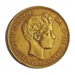 España 100 Ptas. 1897. *18*97. SGV. EBC+. (Golpecito canto). ESCASO/A. AU. 32,258gr. Ø35mm. HG. 188 - KM. 708