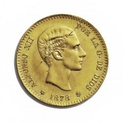 España 10 Ptas. 1878. *19*--. Madrid. DEM. SC-/SC. (Fina grieta o rayita anverso). (Reacuñacion oficial). AU. 3,23gr. Ø19,5mm.