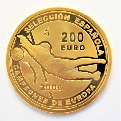 UE 200 €. 2008. PRF. (ESPAÑA)-(Campeones de Europa-Futbol). AU. 13,5gr. Ø30mm