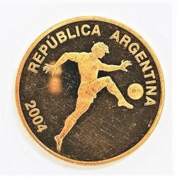 Argentina 10 Pesos. 2004. PRF. (Muy lev.marquitas). (Mundial Futbol Alemania 2004). AU. 6,82gr. Ø23mm. KM.
