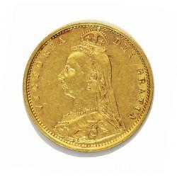 Gran Bretaña ½ Libra/Pound. 1892. Londres. EBC. (Tipo Escudo). AU. 3,994gr. Ø19mm. KM. 12