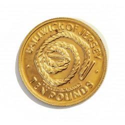 Jersey 10 Libra/Pound. 1972. SC. (25º Anv.Bodas). AU. 4,64gr. Ø18mm. KM. 40