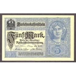 Alemania Imperio-(1871/1918) 5 Marcos. 1917. SC. PIK. 56 b
