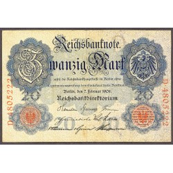 Alemania Imperio-(1871/1918) 20 Marcos. 1908. MBC. (Doblezes). PIK. 31