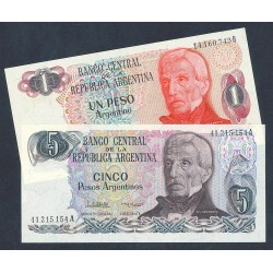 Argentina LOTE. 1983. SC. (1+ 5 p.-2 Billetes). PIK. 311 y 312
