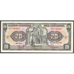 Ecuador 20 Sucre. 1988. SC. PIK. 121-A a