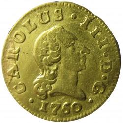 España ½ Escudos. 1760. (M)-Madrid. JP. MBC+. (Muy leve resto de soldadura). AU. 1,69gr. CT. 678. Ø15mm