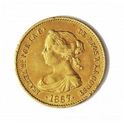 España 4 Escudos. 1867. Madrid. MBC. AU. 3,35gr. Ø18mm. CT. 109 - HG. 563