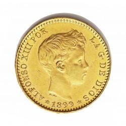 España 20 Ptas. 1899. *18*99. Madrid. S.M.V. MBC-/MBC. (Marquitas). AU. 6,452gr. Ø21,5mm. CT. 6 - KM. 709