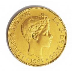 España 100 Ptas. 1897. *18*97. SGV. EBC-. (Marquitas y.gpctos.cto.). ESCASO/A. AU. 32,258gr. Ø35mm. HG. 188 - KM. 708