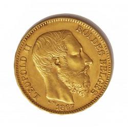 Belgica 20 Francos. 1870. MBC+. AU. 6,452gr. Ø22mm. KM. 32