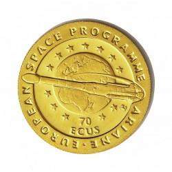 Gibraltar 50 Libra/Pound. 1994. PRF. (Contravalor 70 Ecu). (Arianne-Expl.Espaciales). AU. 6,22gr. Ø22mm. KM. 634 Similar